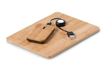 Bamboo Mousepad and Mouse set